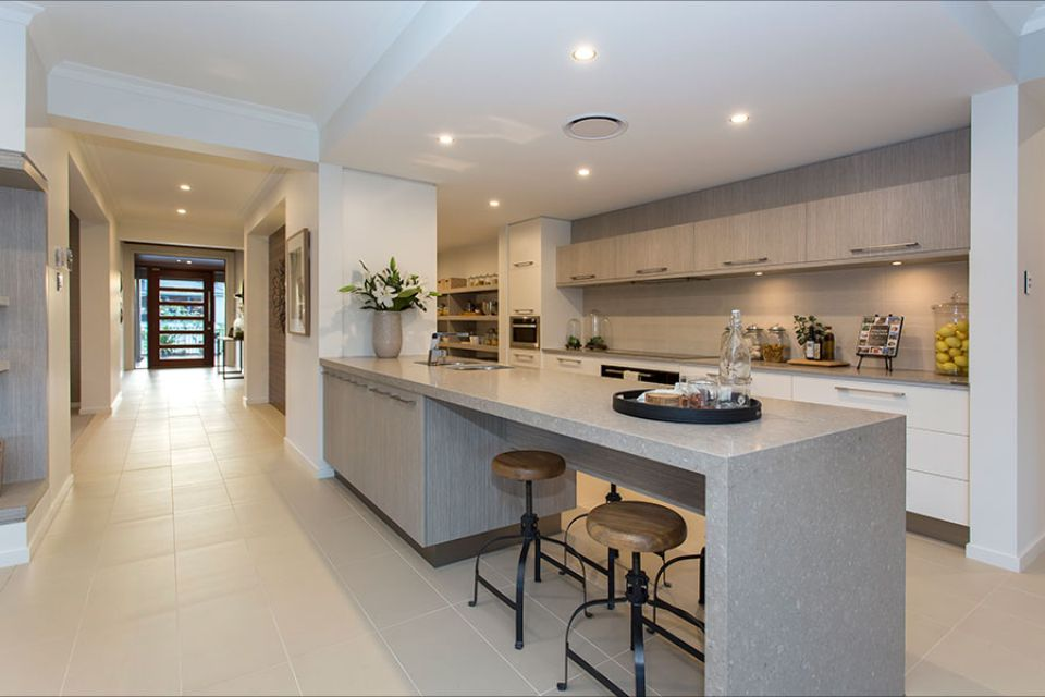 Island against wall | Modern kitchen island, Kitchen ...