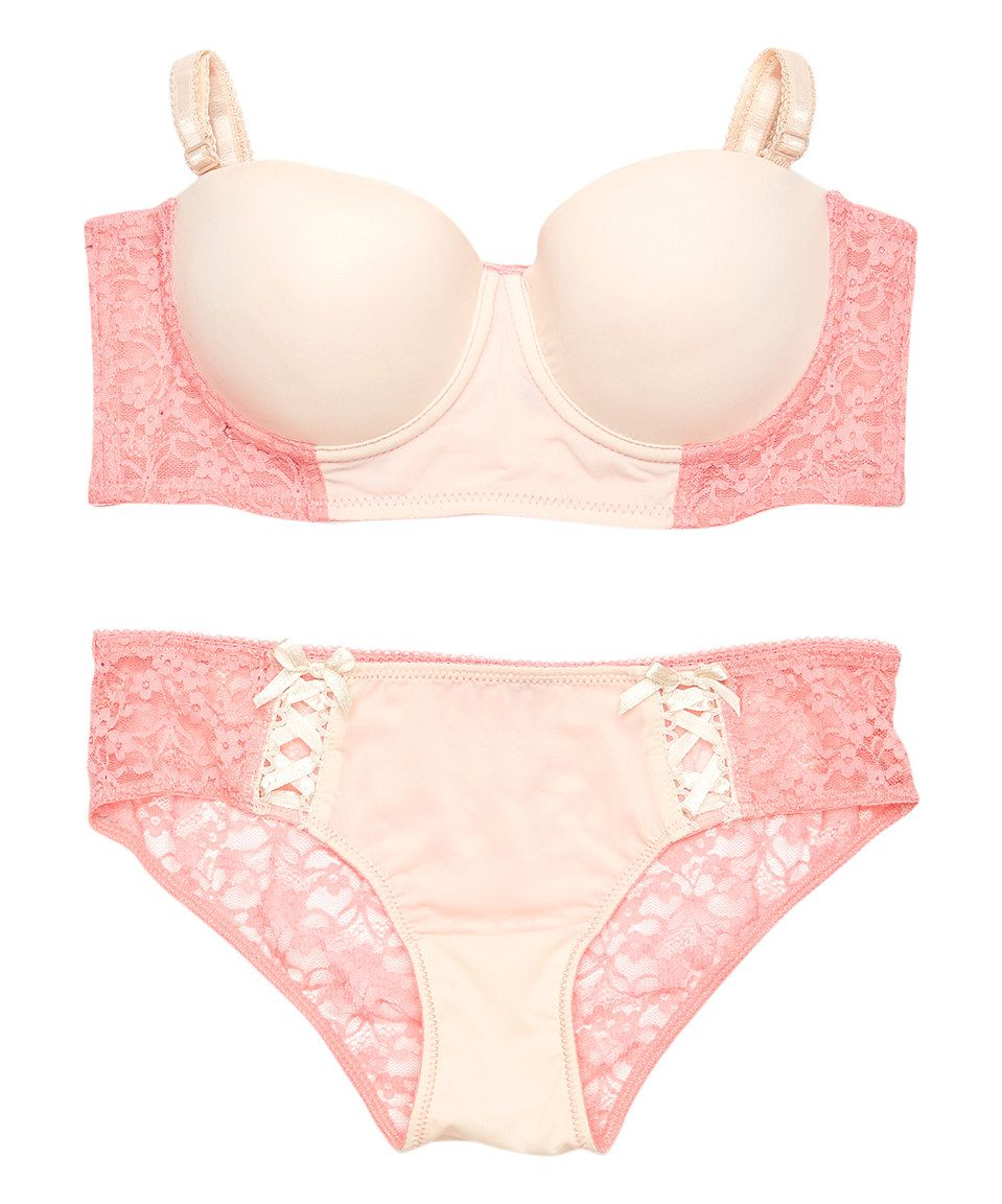 This René Rofé Pink Escape Reality Longline Bra & Boyshort by René Rofé is perfect! #zulilyfinds