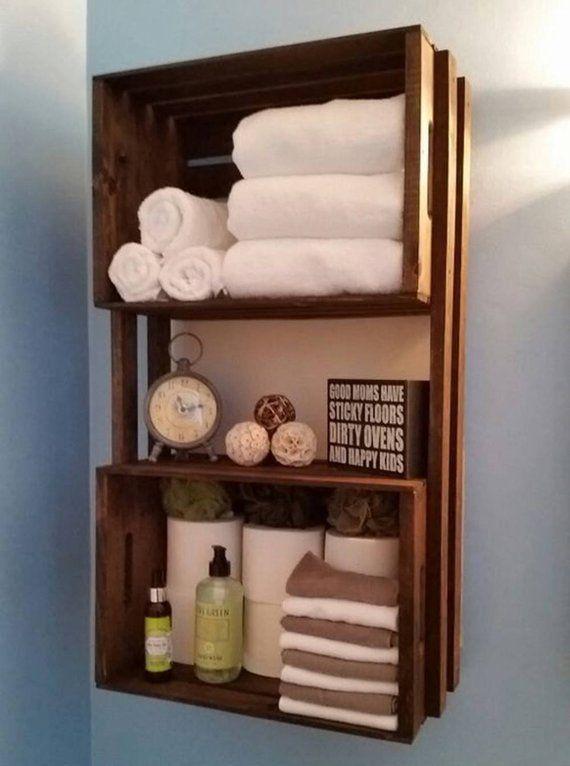 Badezimmer Crate Dekor Handtuchhalter Holz Ideen Kiste Organizer Regal R Crate Shelves Bathroom Bathroom Organisation Small Bathroom Storage