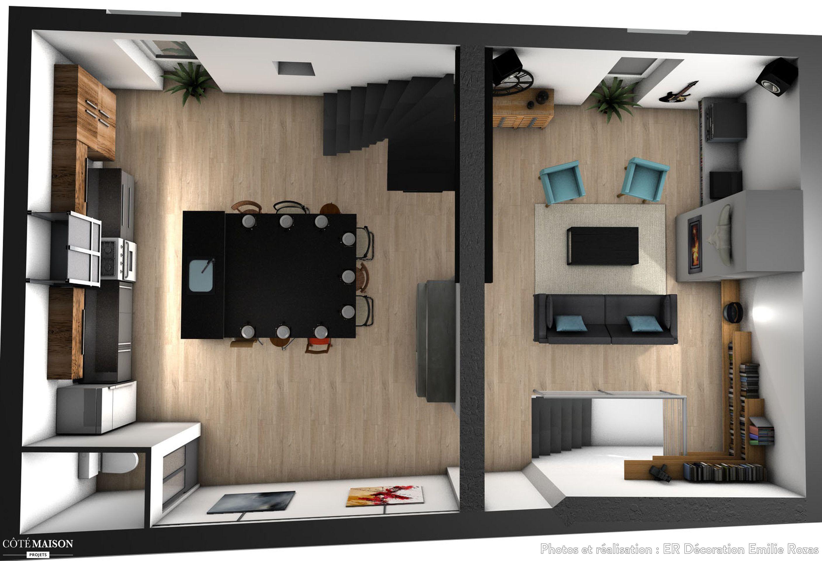Maquette du premier niveau d'une maison sur 3 étage de 150m2 | Maison, Industriel et moderne ...