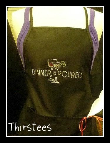 Wine ApronDinner is Poured Wine Lovers AproncuteMany by thirstees,