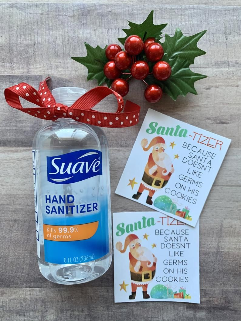 Snowflakes and Gifts Christmas Hand Sanitizer Labels