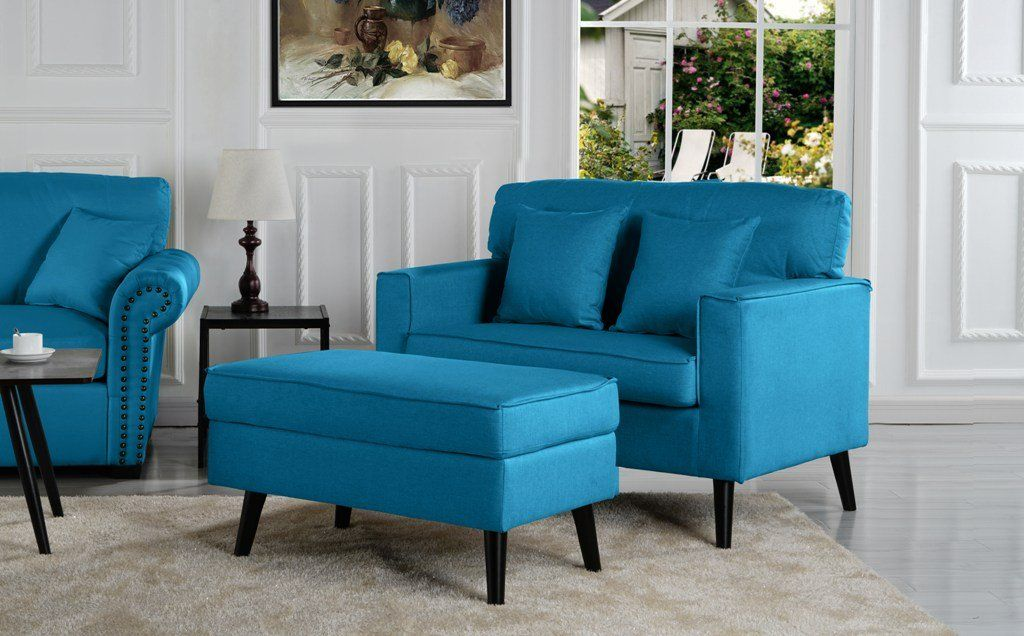 Timothy Mid Century Oversized Accent Chair With Footrest