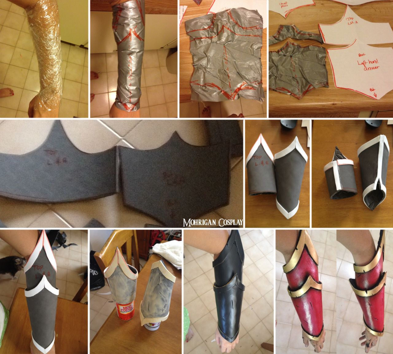 Eva foam bracers tutorial *sorry for my english if any errors* My page: www.facebook,com/m.cosplay Use plastic wrap to cover the area you want to take out the pattern from. Then cover it with tape. Cute it and paste the pattern to paper. (I always add lil bit extra in the sides in this case added left, right and bot) Paste them to Eva foam and cut it. Add details with foamy (borders) and glue everything. The small cut you see in the back its because that way I can Fit my fist with no…