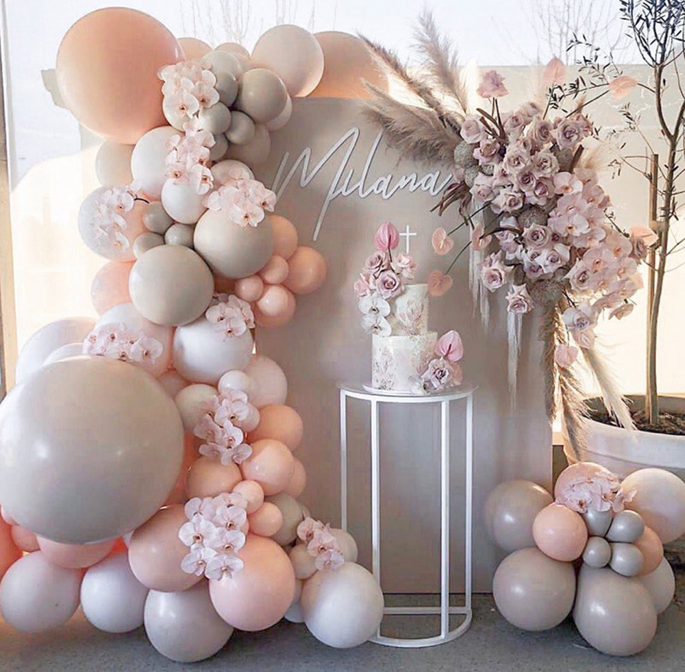 98pcs macaron peach gray Balloon Garland Arch Birthday Party Wedding & Engagement Baby Shower Balloons Decor bridal shower Anniversary