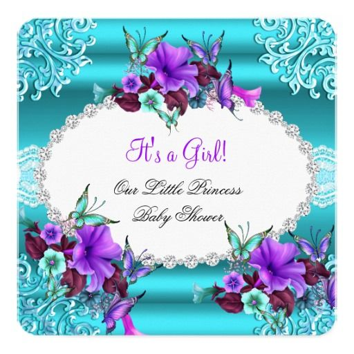 Princess Baby Shower Girl Teal Blue Purple Floral Card