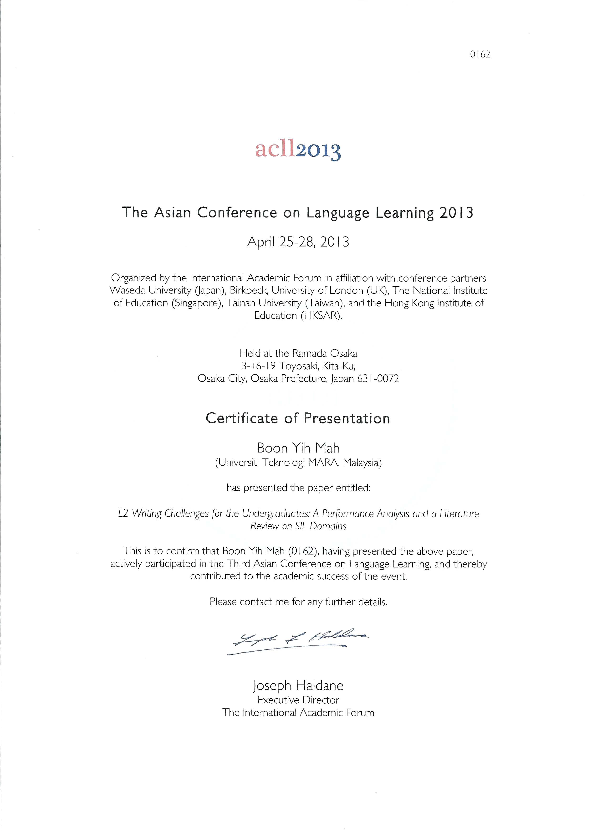 The Asian Conference On Language Learning Acll