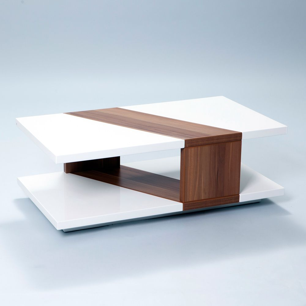 Bn Design High Gloss White And Walnut Coffee Table With 2: Bianca White Lacquer Walnut Finished Rectangular Coffee