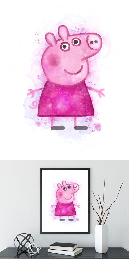 Peppa Pig Poster, Peppa Pig Print Printable Peppa Pig Instant Download Nursery Decor Boy Girl Birthday Print Peppa Pig Wall Hanging #peppapig