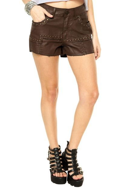 Short Canal Tachas Marrom - Marca Canal