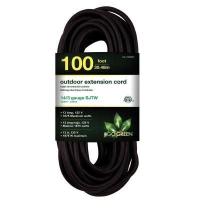 Power By Go Green 100 Ft 14 3 Sjtw Outdoor Extension Cord Black Outdoor Extension Cord Extension Cord Go Green
