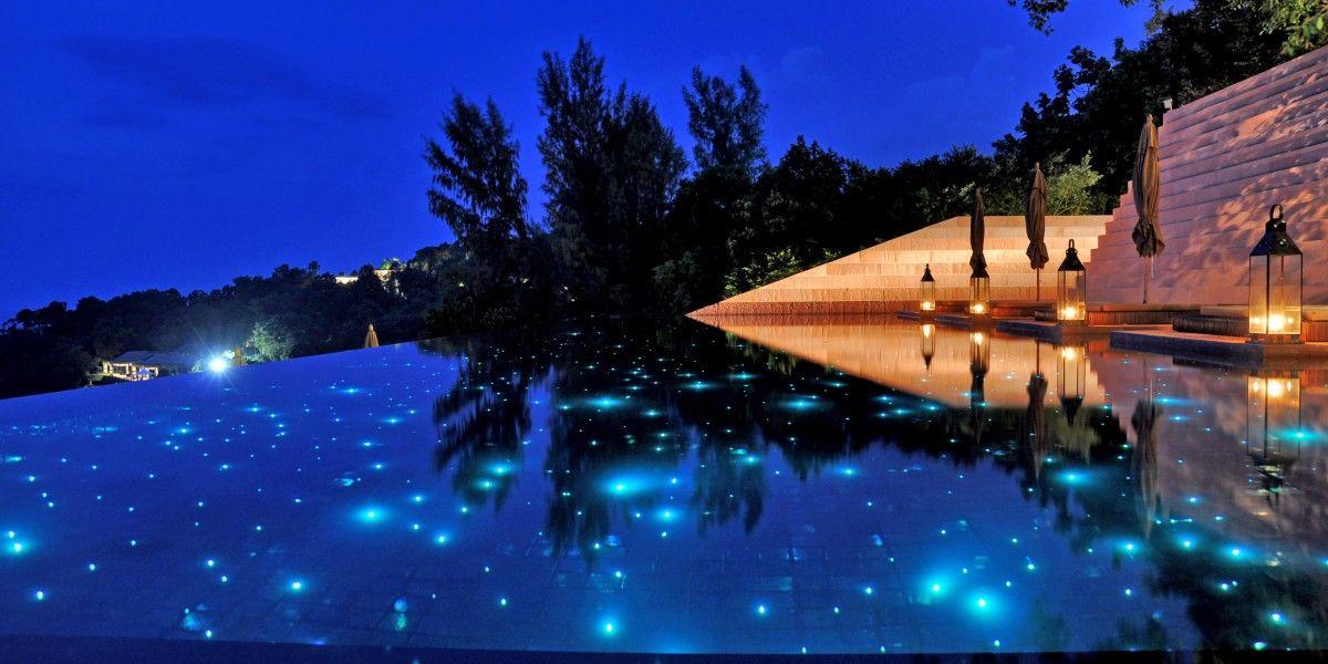 The Paresa Resort's main pool has starry fiber-optic lighting. #Jetsetter Phuket, Thailand