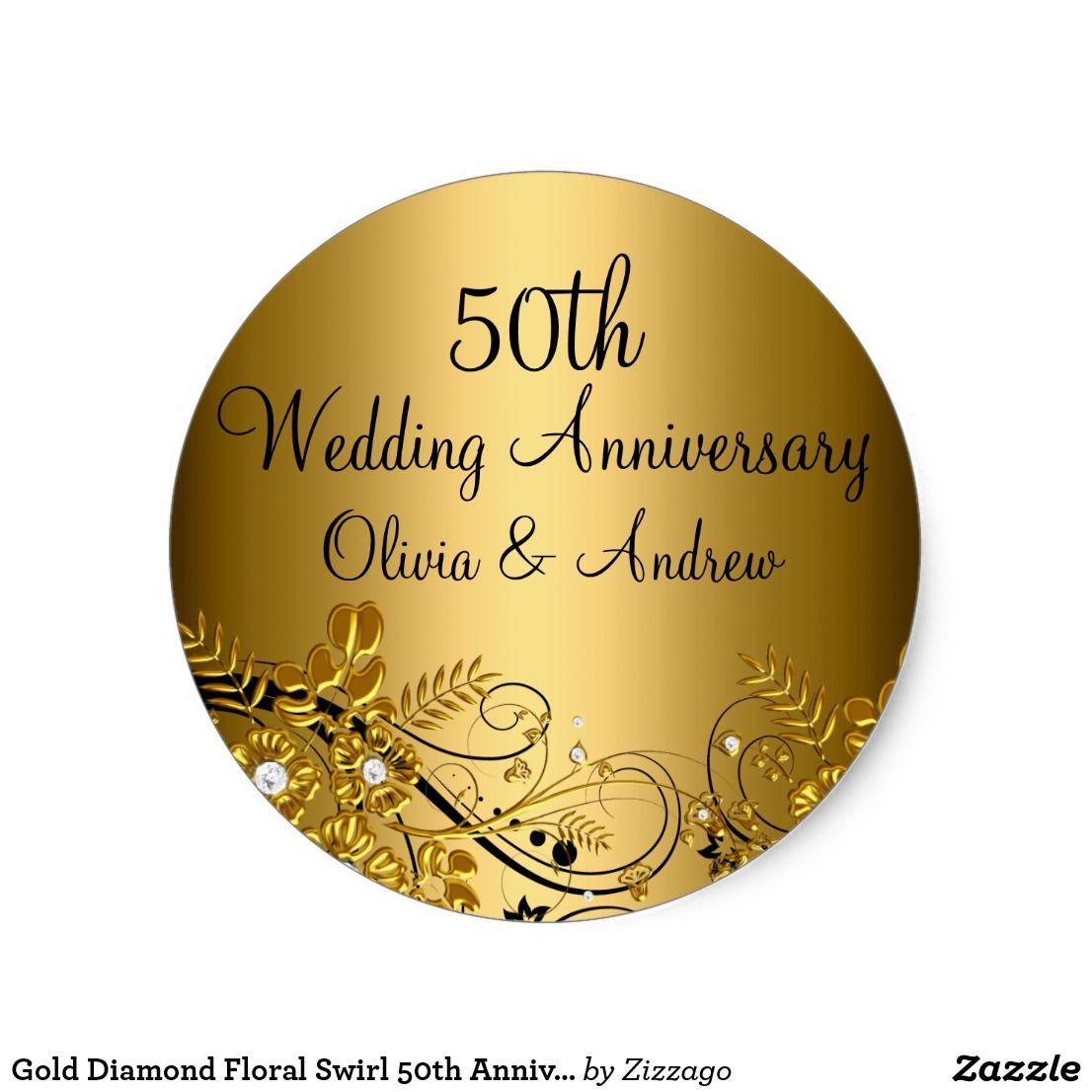 Gold Diamond Floral Swirl 50th Anniversary Sticker Zazzle Com 50th Wedding Anniversary Gold Swirl 50th Anniversary