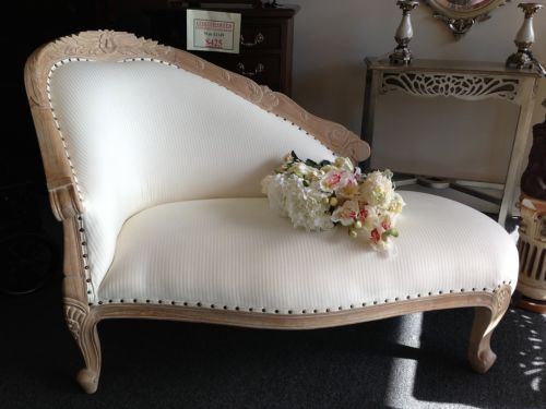 French Chaise Lounge Sofa Antique White Wash Provincial Style Chic