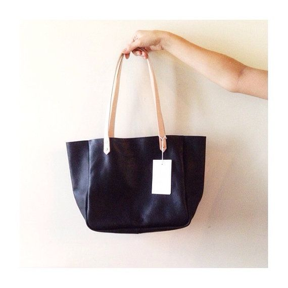 Easy tote in black cow leather with contarting by STRAWTHELABEL