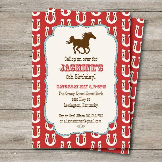 Horse Western Birthday Invitation, Horse Party Invitation