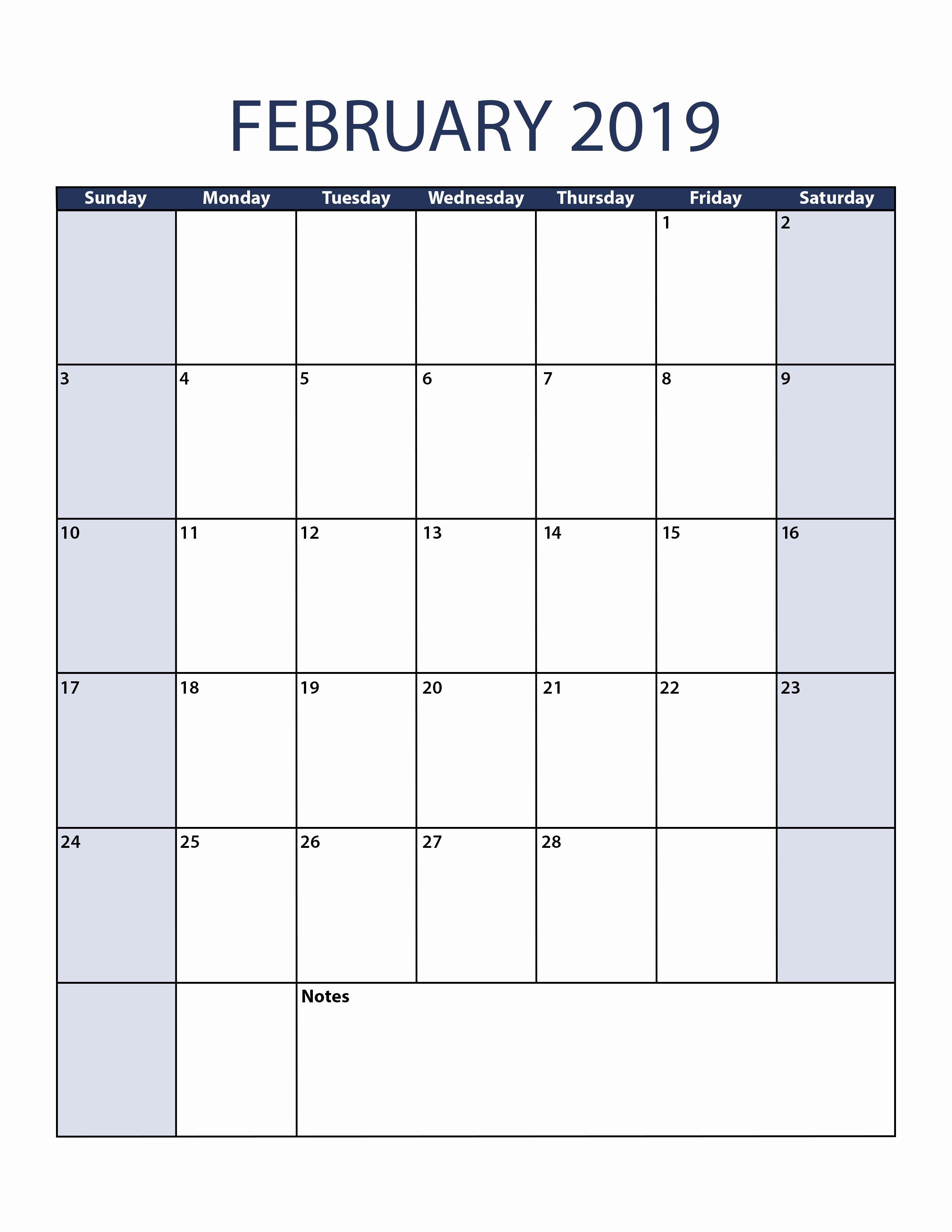 2019 February Calendar Portrait Monday Start February 2019 Portrait Printable Calendar #February