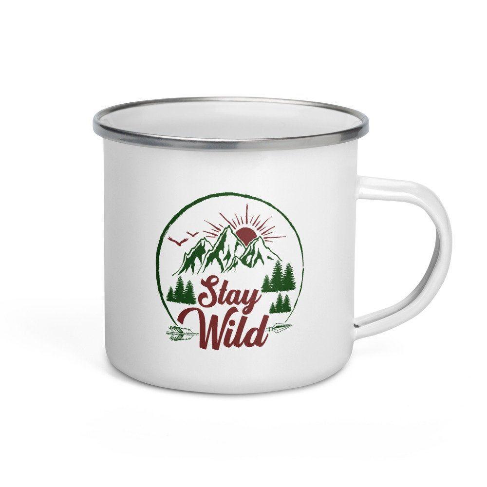 Camping Enamel Coffee Mug Stay Wild Glamping Mugs for ...