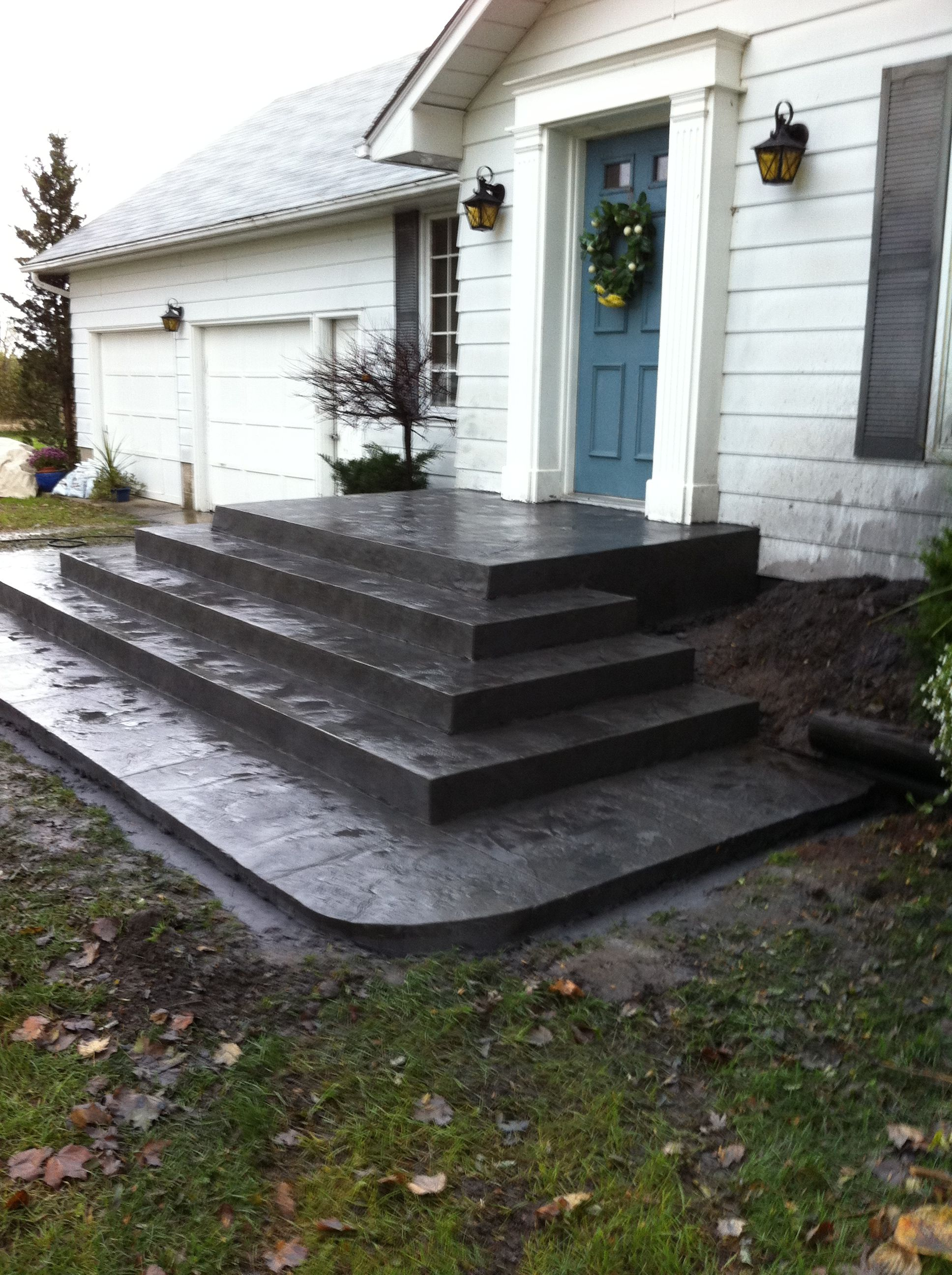 Best Rough Cut Stone Stamped Concrete Steps In Delaware Ontario 400 x 300