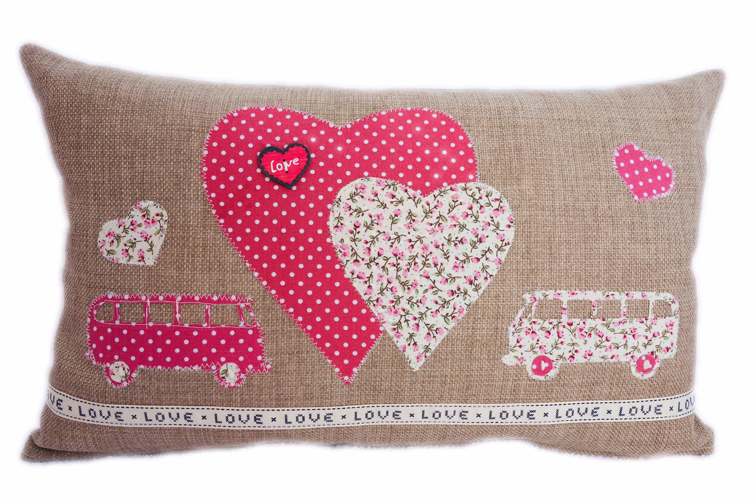 Campervan Appliqué Decorative Feature Cushion, Pink and Floral Campers and Hearts design :  Excite