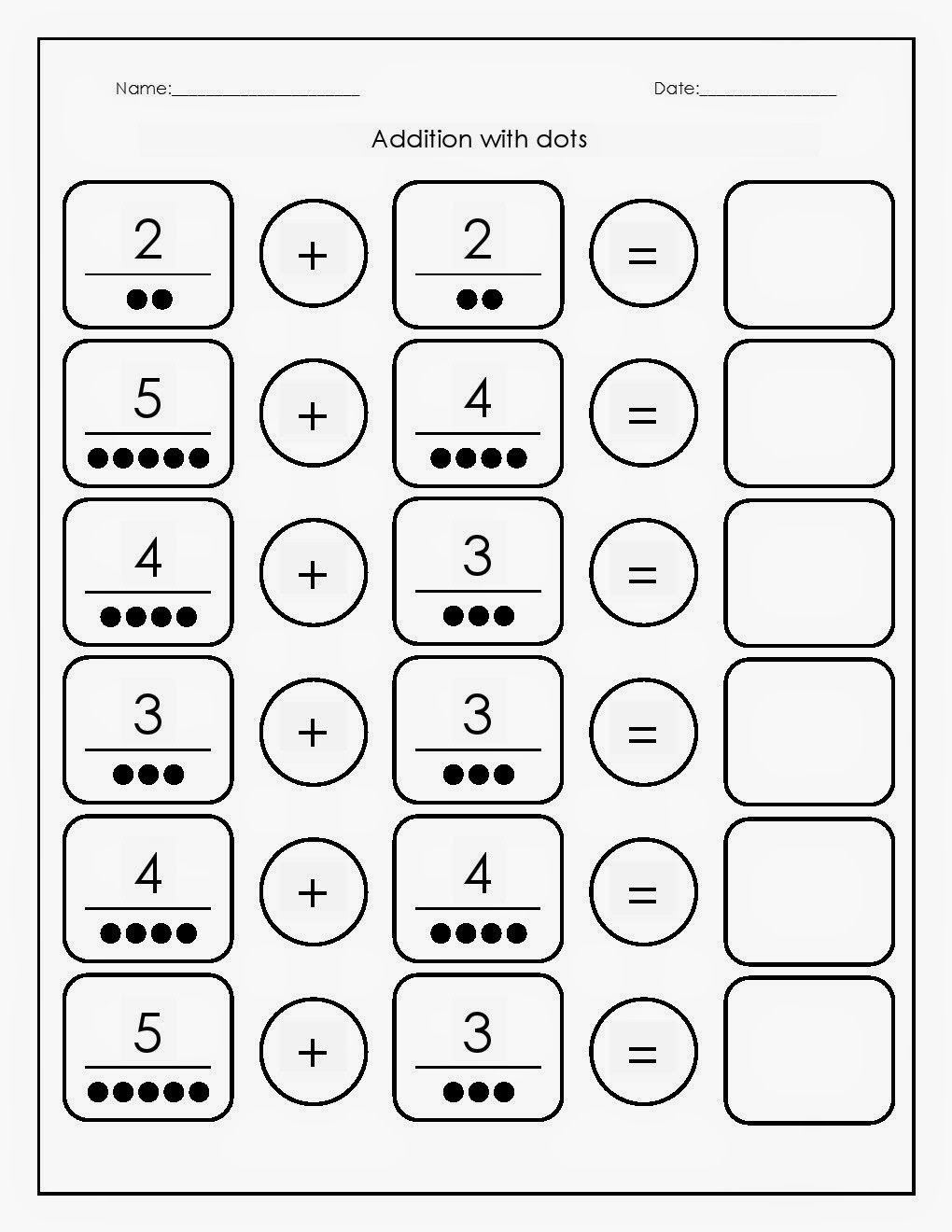 Maths Worksheets Addition with dots worksheets 2 (With
