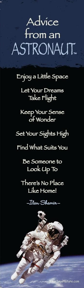 """""""Advice from an Astronaut"""" Bookmark Quotes to live by"""