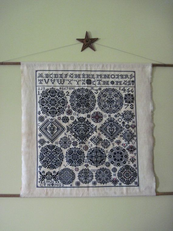 Antique Sampler cross stitch by MadebyAlle on Etsy, $1120.00