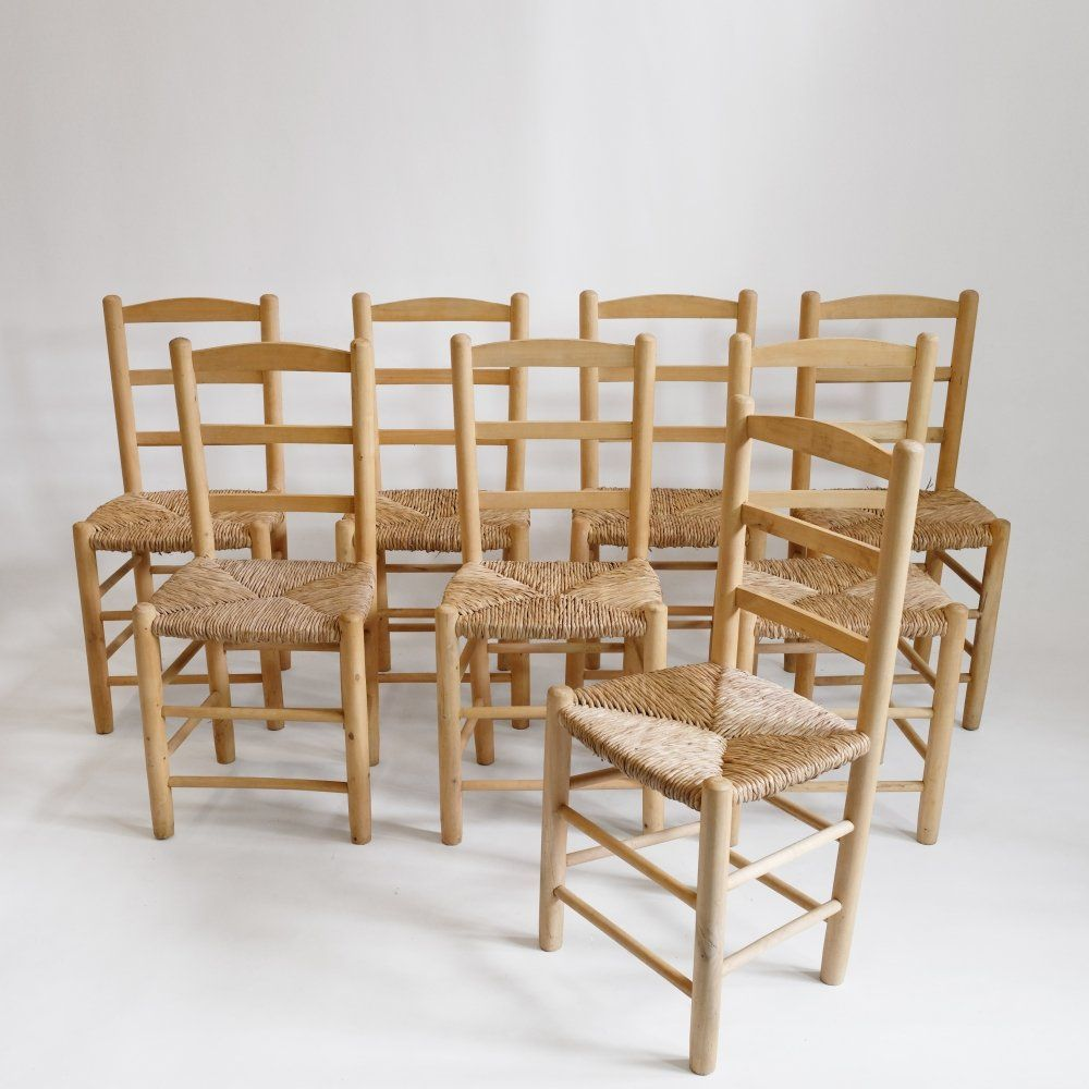 For sale: Set of 8 chairs in light wood & straw | Chair ...