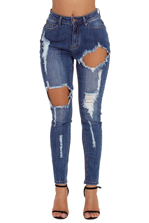 ee4c293fb Jeans troué Grande Taille Femme Chic Koly Pantalons Jeans déchiqueté ...