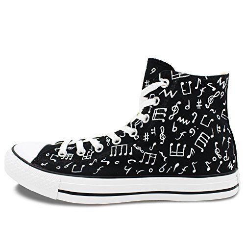 88492e293743 Converse Minim Hi Chuck Taylor Shoes Music Notes Hand Painted High Top  Canvas Sneakers