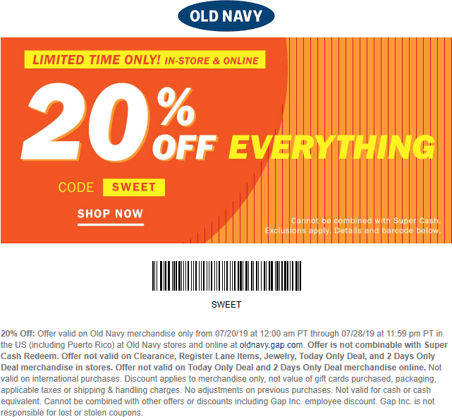 Pinned July 23rd 20 Off Everything At Oldnavy Or Online Via Promo Code Sweet Thecouponsapp Old Navy Coupon Shopping Coupons Old Navy