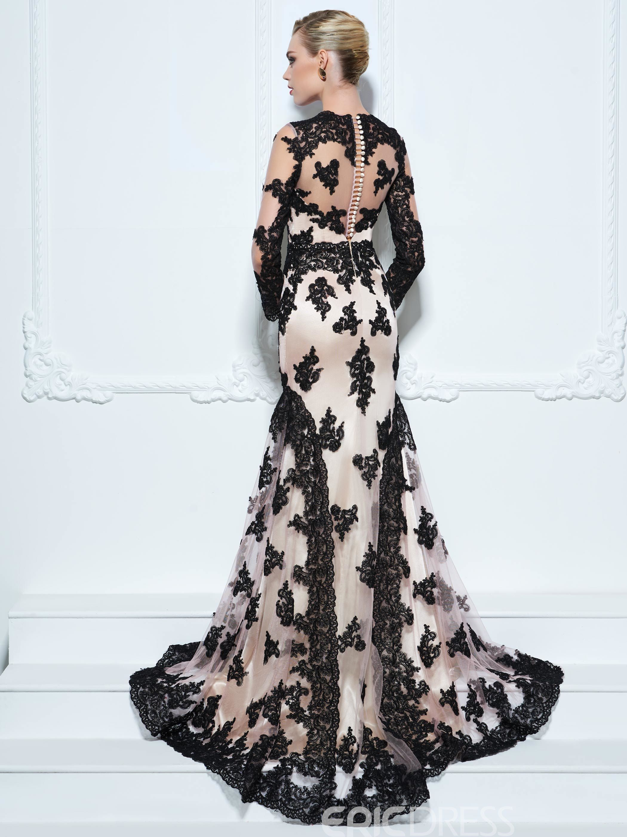 Long Sleeve Black Lace Overlay Wedding Gown With Short Train Trumpet Evening Dress Designer Evening Dresses Dresses [ 2800 x 2100 Pixel ]