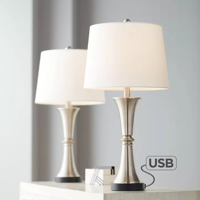 360 Lighting Modern Table Lamps Set Of 2 With Usb Port Led Touch On Off Silver White Drum Shade For Living Room Bedroom Family In 2020 Touch Table Lamps Table Lamp Touch Lamp