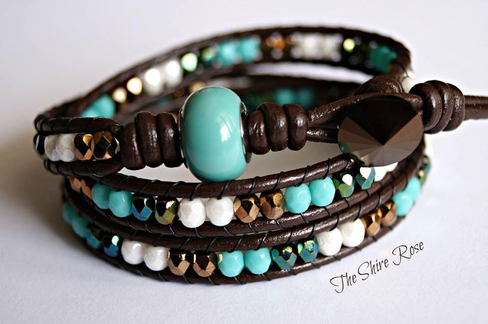 Bracciale wrap a tre giri color Tiffany con Swarovski Elements