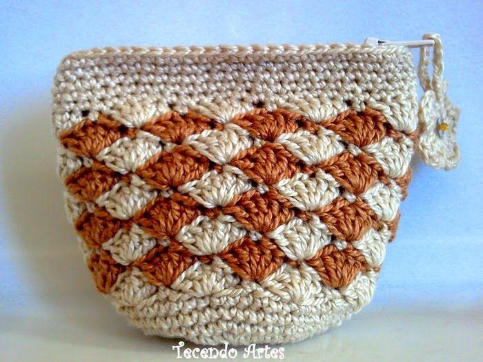 Monedero crochet con rombos Crochet y Dos agujas BOLSOS Y