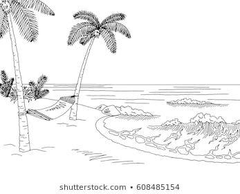 Sea coast hammock graphic black white landscape sketch ...