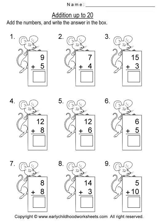Addition Worksheets kindergarten addition worksheets sums to 20 – Addition Worksheets to 20