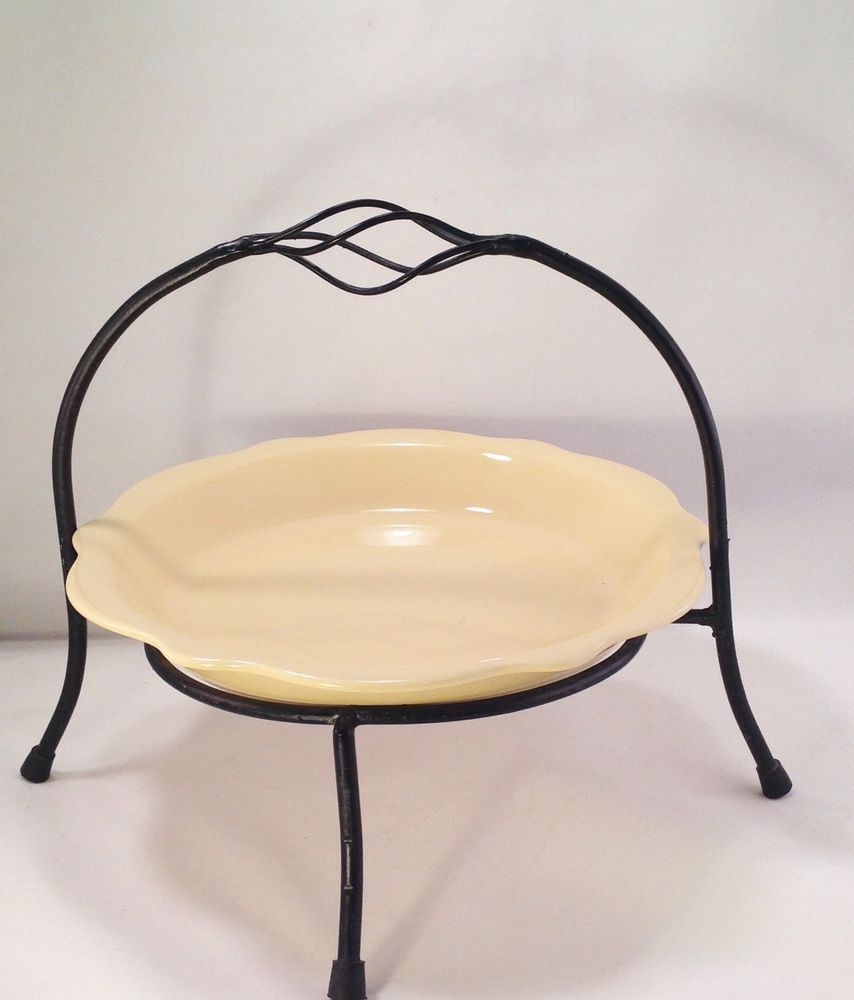 Vintage Primitive Black Wrought Iron Pie Plate Holder Cake Stand ...