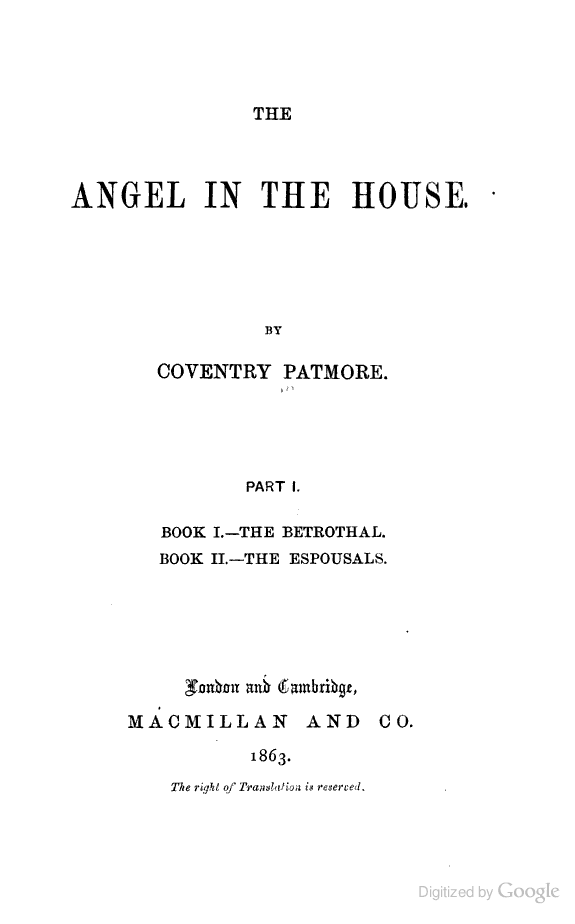 The Angel In The House. Book I. Canto Ii.