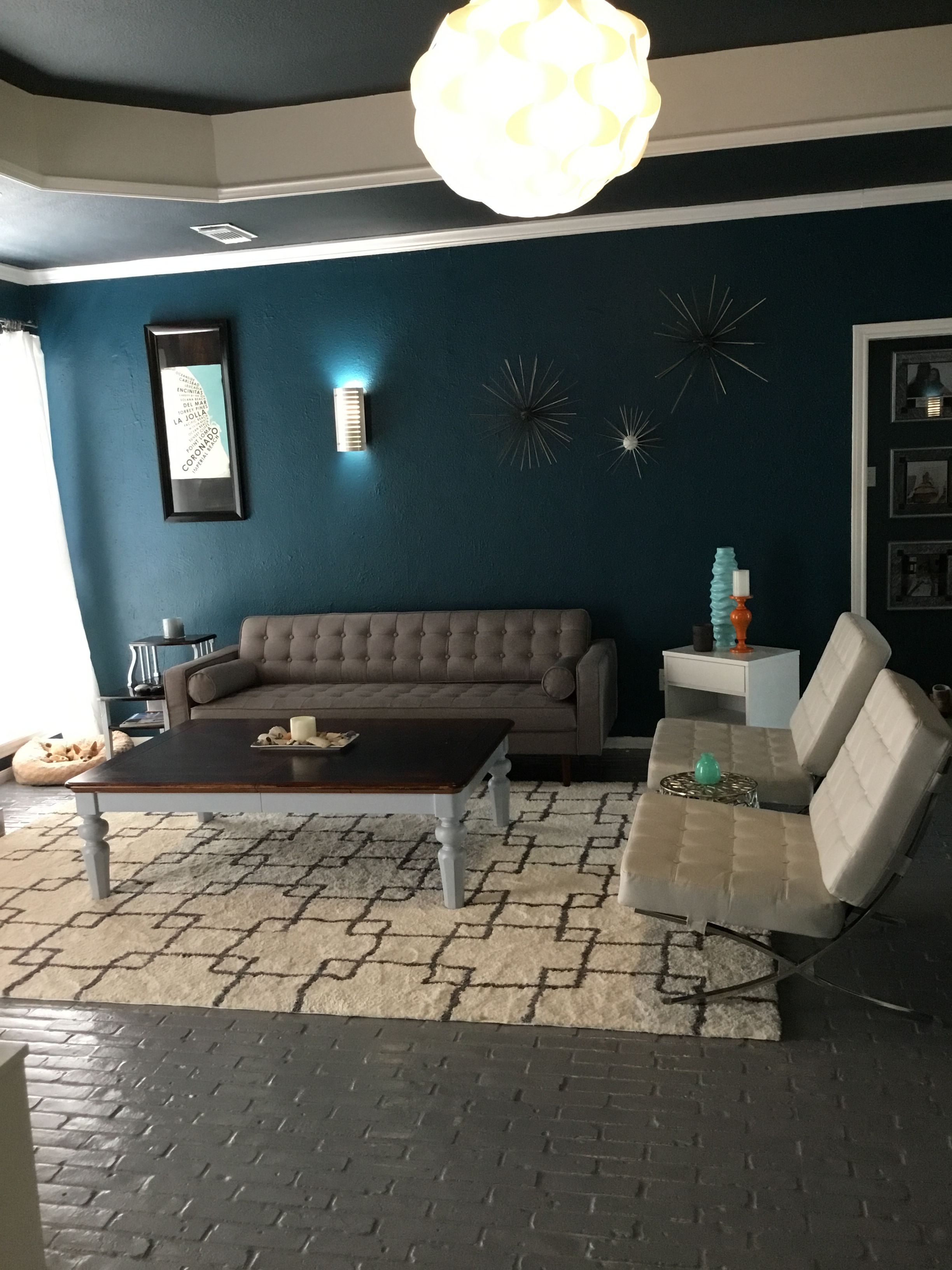 Benjamin Moore Galapagos Turquoise Turquoise Accent Walls Living Room Remodel Basement Colors #turquoise #living #room #walls