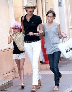Ines de la Fressange...white jeans, effortless chic.