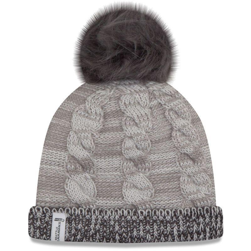 9f9b73ee8c8 Seattle Seahawks New Era Women s Cozy Team Cuffed Knit Hat - Gray Graphite