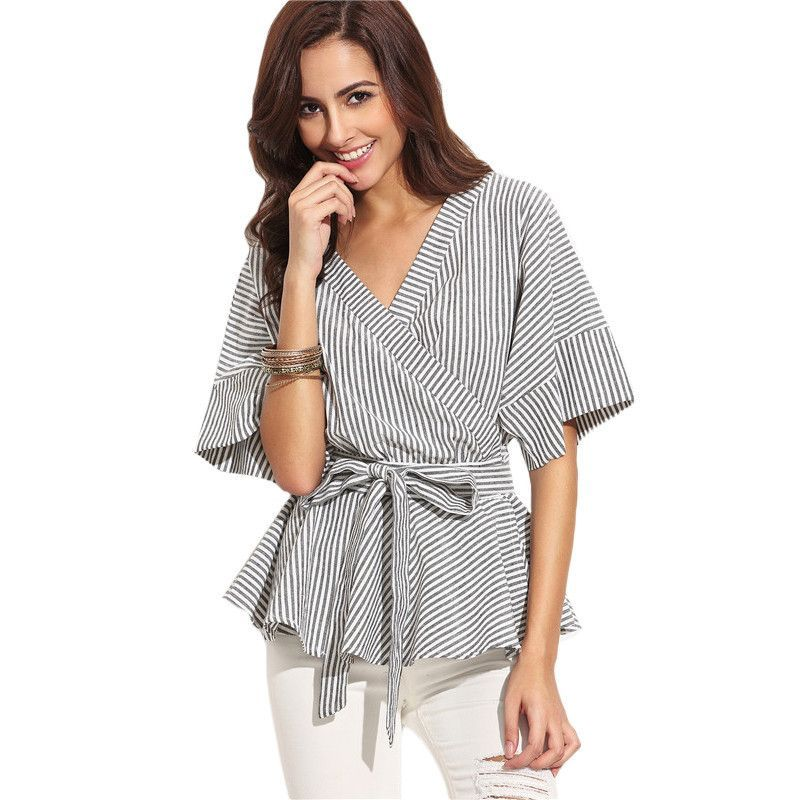 SheIn Ladies Black and White Striped Bow Wrapped Blouses Summer Women Tops Multicolor V Neck Half Sleeve Casual Blouse