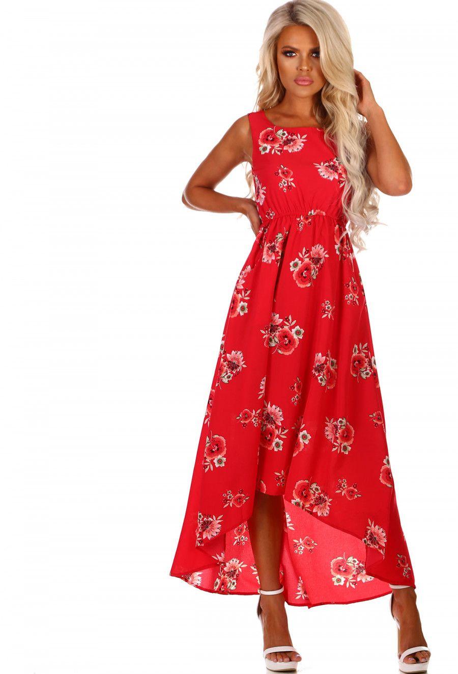 b1a72a8eae Pool Party Hun Red Floral Dip Hem Maxi Dress - 8