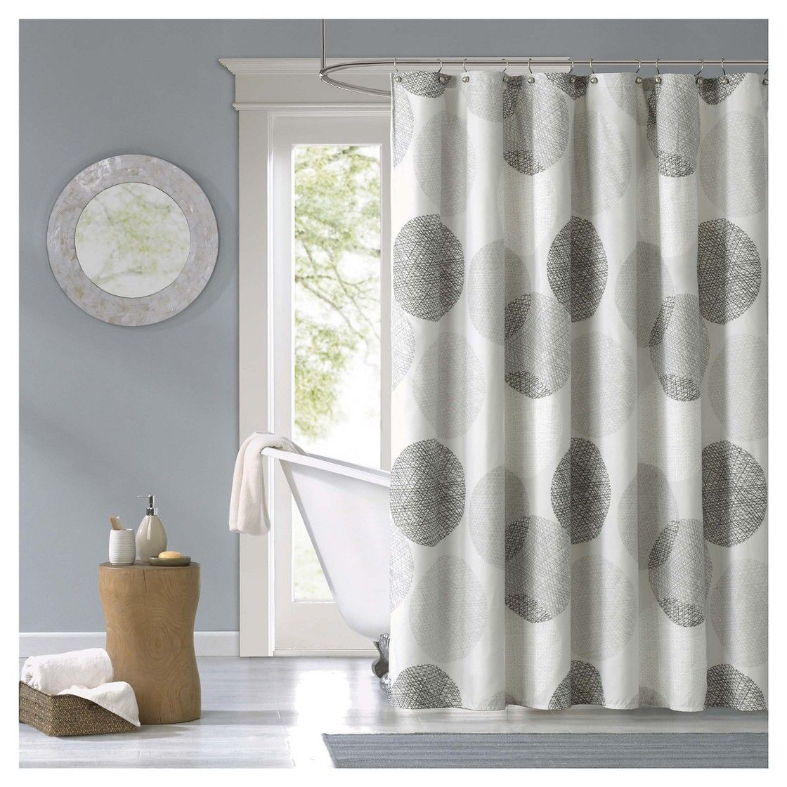 Cabrillo Geometric Print Microfiber Shower Curtain - Grey  For second floor bathroom