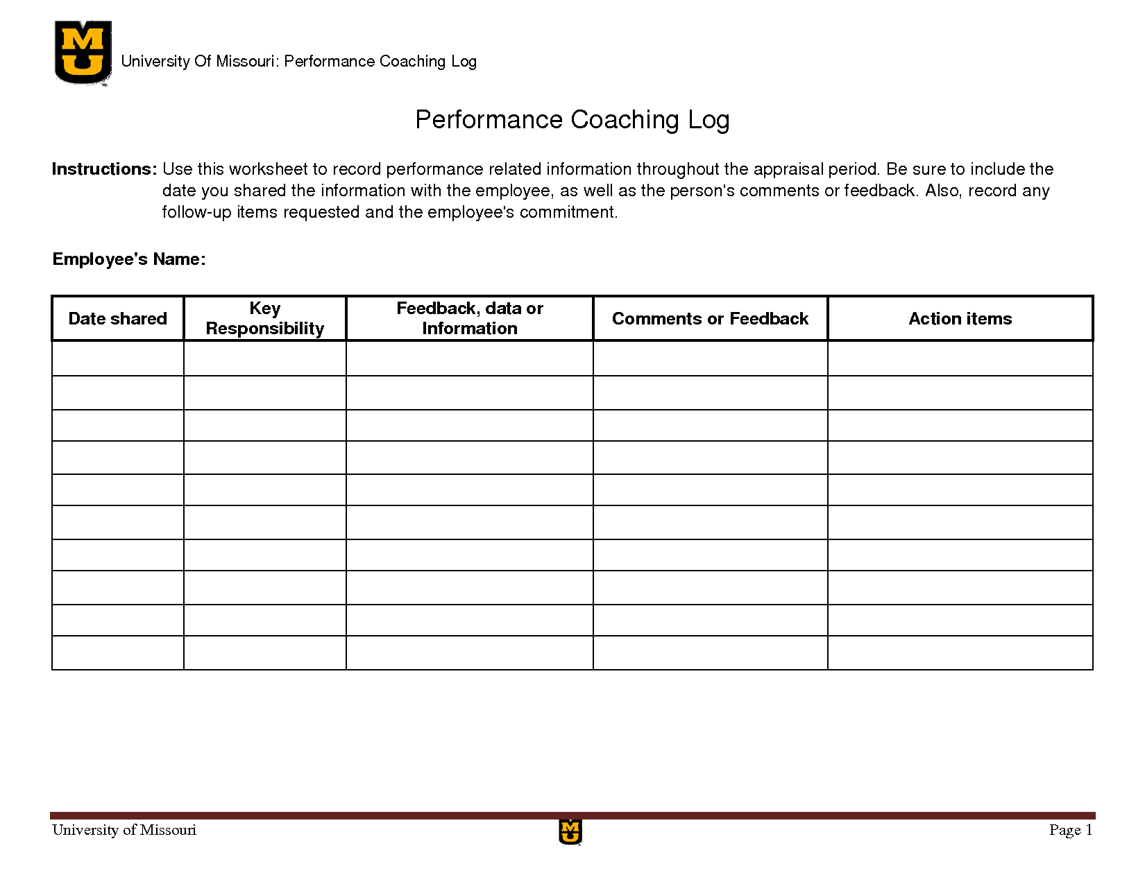 Coaching Templates For Managers