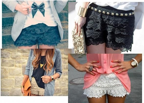 Pantalones De Encaje Zara Shorts Con Encaje Pantalones De Encaje Vestidos Cortos