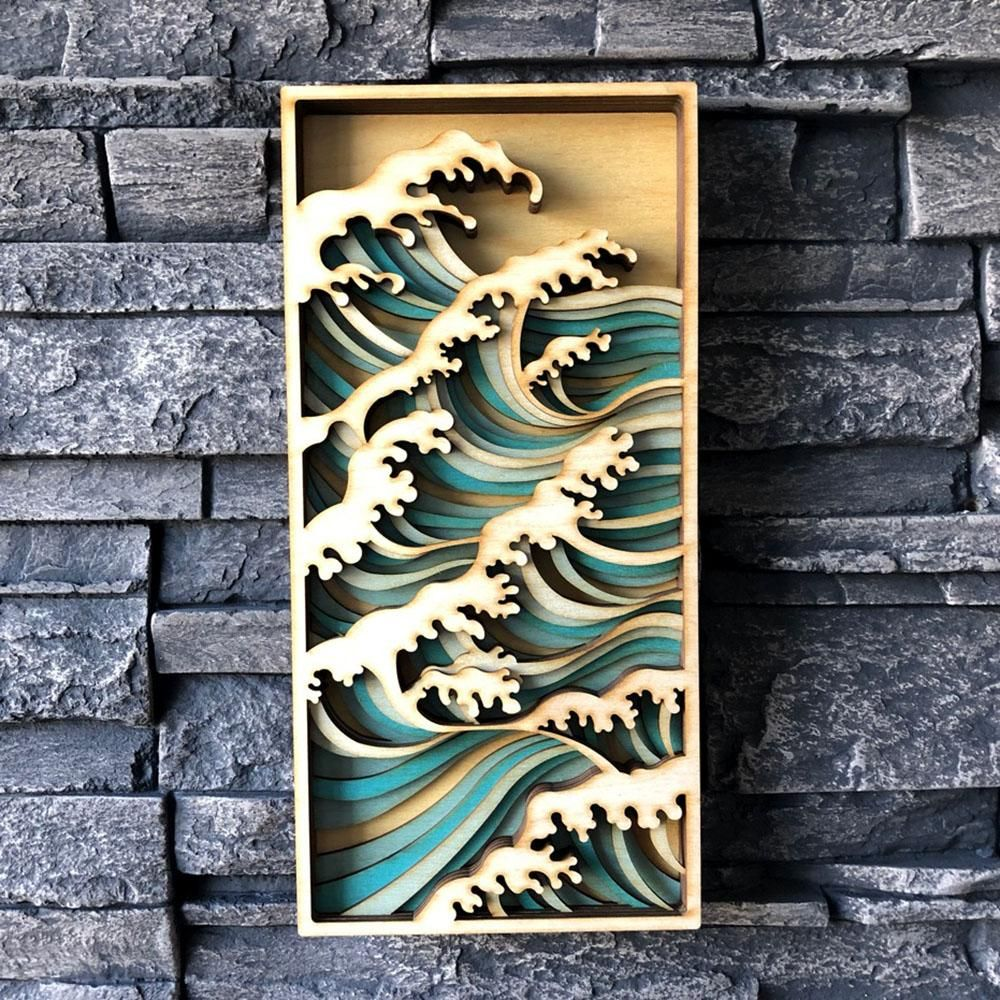 Wave Wall Panel In 2020 Plywood Art Panel Wall Art Laser Art