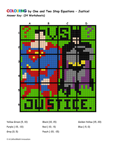 Colouring by 1 & 2 Step Equations - Dawn of Justice ...