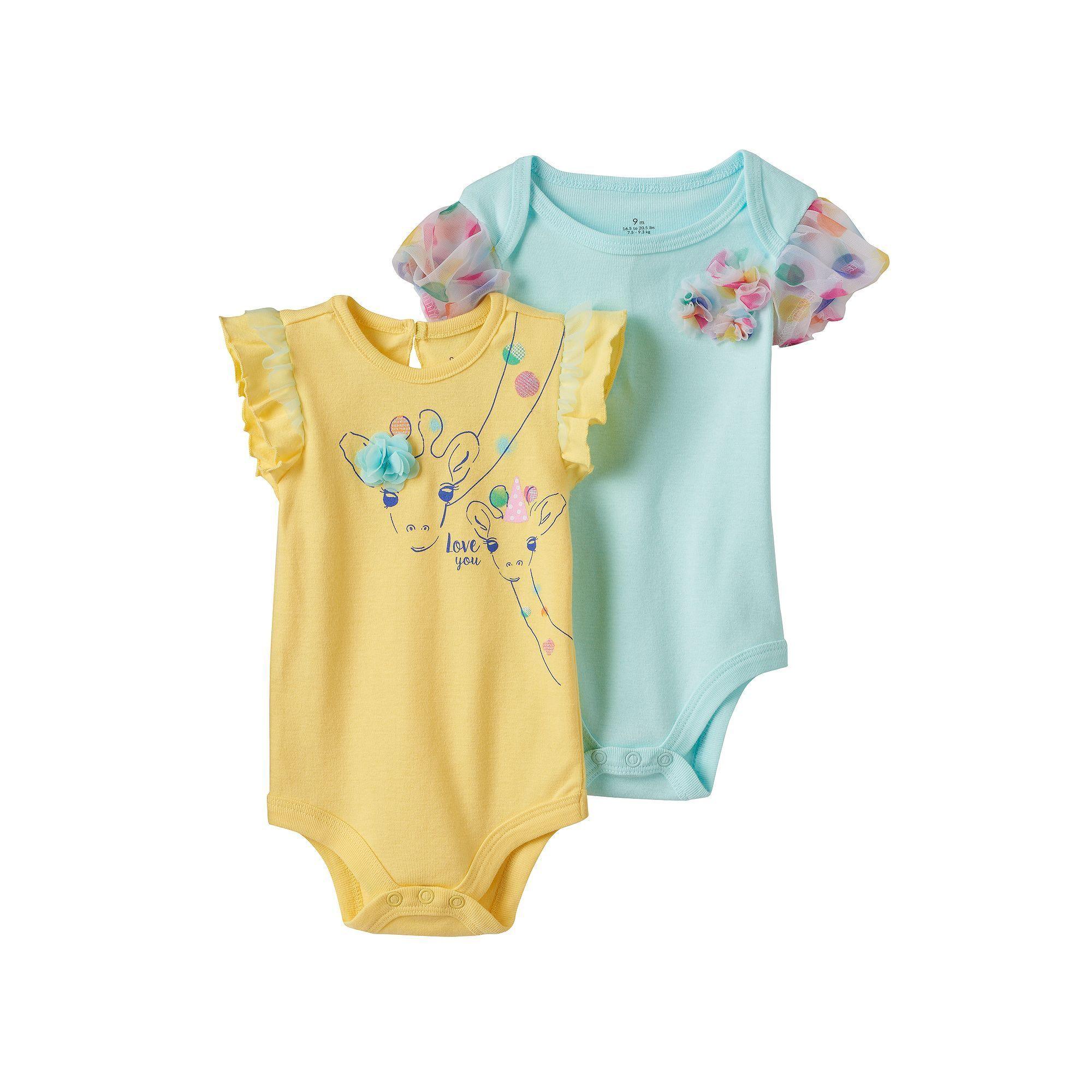 Baby Girl Baby Starters 2 pk Giraffe Graphic & Polka Dot Tulle